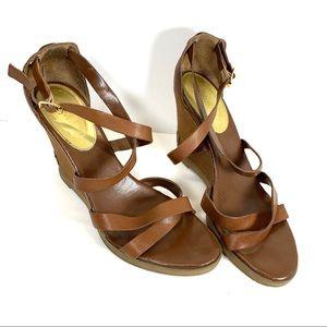 Ralph Lauren Brown Leather Wedge Sandals